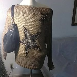 ROCKSTAR DISTRESSED LACE STAR SWEATER